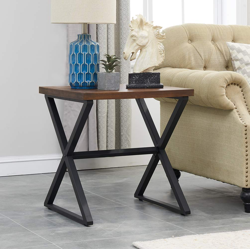 O&K Furniture Farmhouse Accent End Side Table Industrial Nightstand with X-Shaped Metal Frame for Bedroom and Living Room (Brown, 1-Pcs) - Sturdy Construction: This end table in very sturdy frame that is made of iron to support the table top,no serious shaking or movement, very stable and secure. Farmhouse Style: Table top is spliced with MDF board and wood strips with grain and scar in rustic brown paint serve a natural and cottage looking that will bring your home a simple and warm change. Functional and Convenient: Designed to be placed next to a sofa, love seat, or chair, this end table is used to keep your bright lamp, favorite books and cups within close reach. - living-room-furniture, living-room, end-tables - 71Que17eO7L -