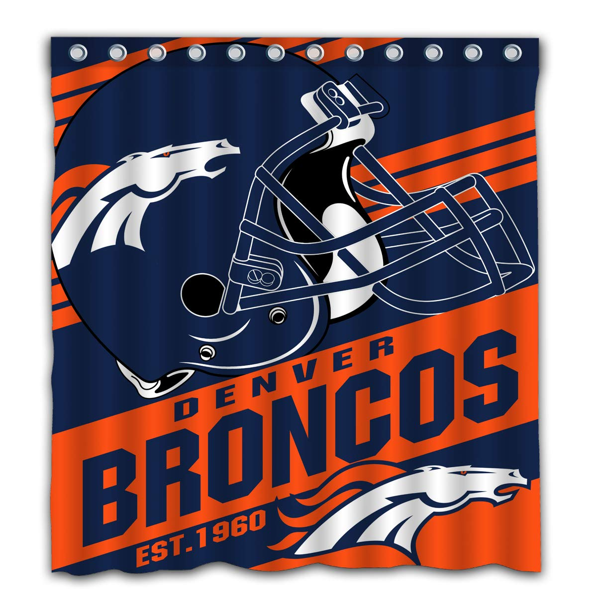Amazon Potteroy Denver Broncos Team Stripe Design Shower Curtain Waterproof Mildew Proof Polyester Fabric 66x72 Inches Home Kitchen