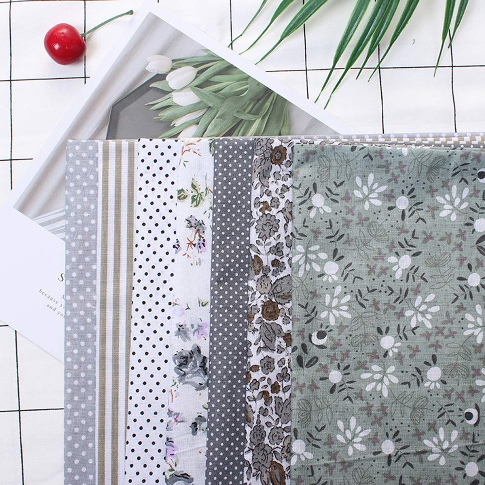 25cm Cotton Fabric DIY Assorted Squares Pre-Cut Bedding Kit Quarters Bundle Grey Series 25 * 25 7Pcs 25