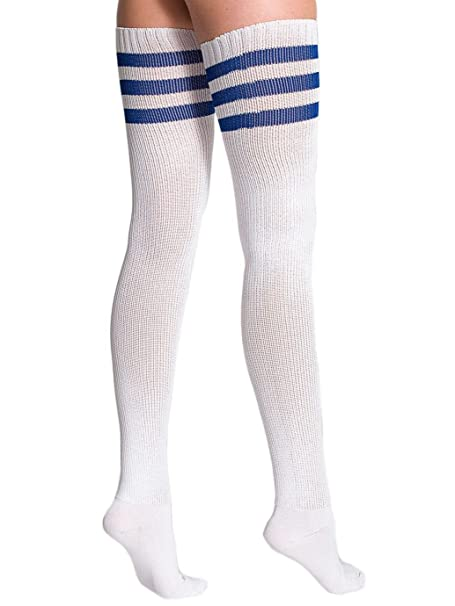 0346b8d7ae9 American Apparel Women s Stripe Thigh-High Socks Size OS White   Royal Blue