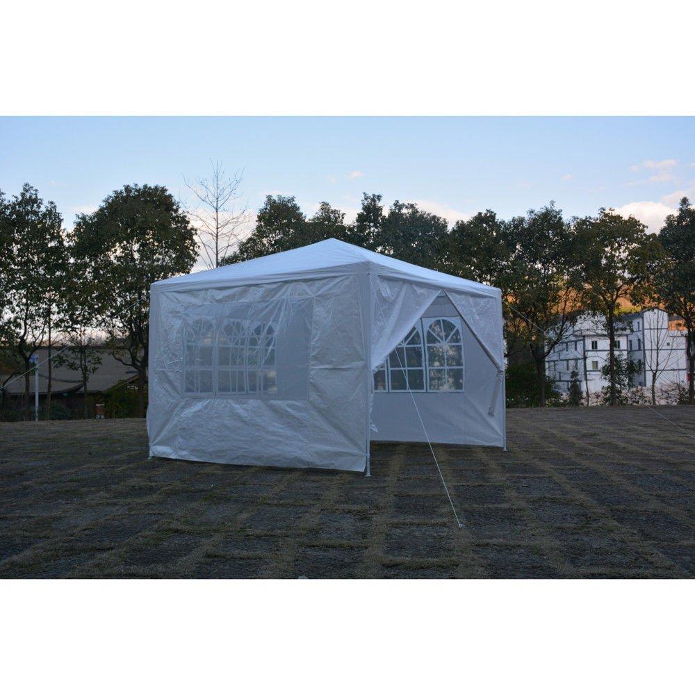 TimmyHouse Canopy Party Wedding Tent Gazebo 10'x10' 4 Walls White Upgrade section