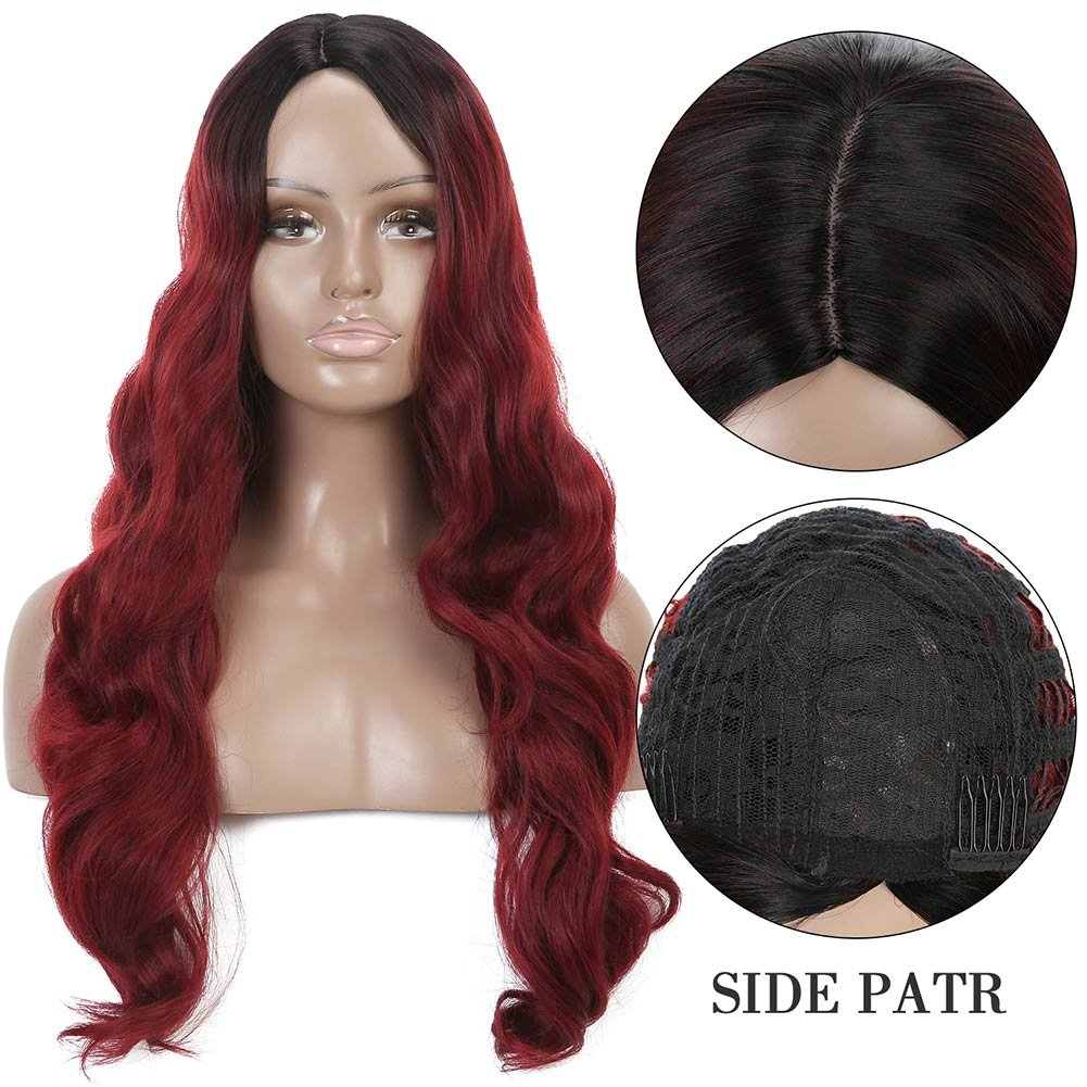 Armmu 28'' Red Ombre Long Body Wave Hair Full Wigs No Lace Wigs for Women 100% Synthetic Hair Burgundy Black Roots Wig (OTBUG) by Armmu (Image #2)