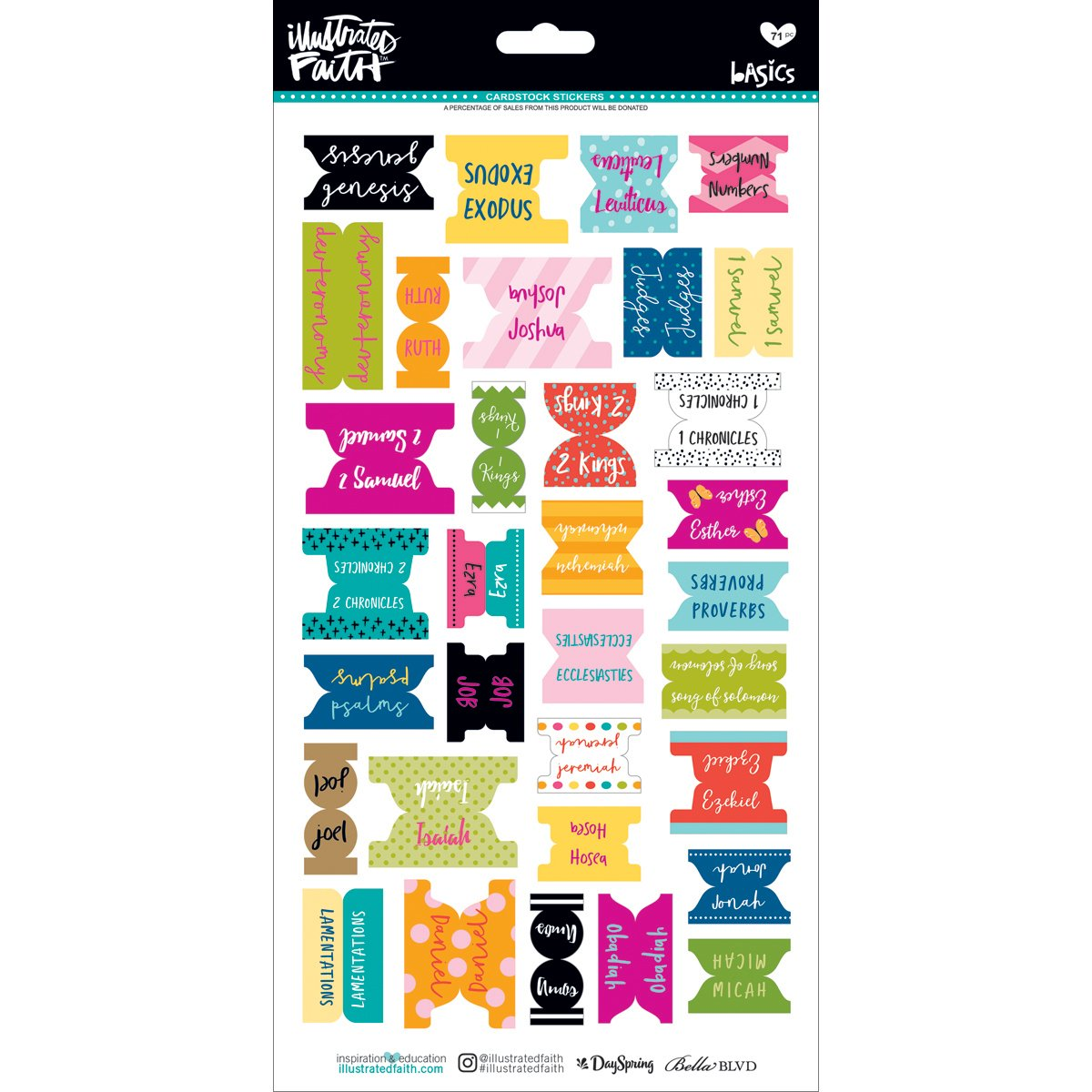 Bella Blvd 1518 Illustrated Faith Basics Bible Book Tabs Stickers, Multi-Colour BB1518