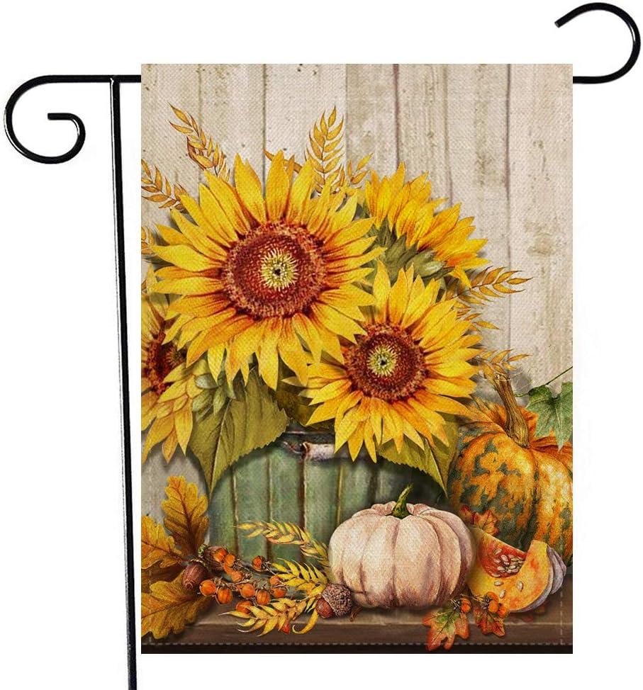 Artofy Pumpkin Sunflower Home Decorative Garden Flag, Fall Harvest Outdoor Small Flag Flower Wheat, Autumn Vintage House Yard Decor Farmhouse Seasonal Outside Decoration Burlap Flag Double Sided 12x18