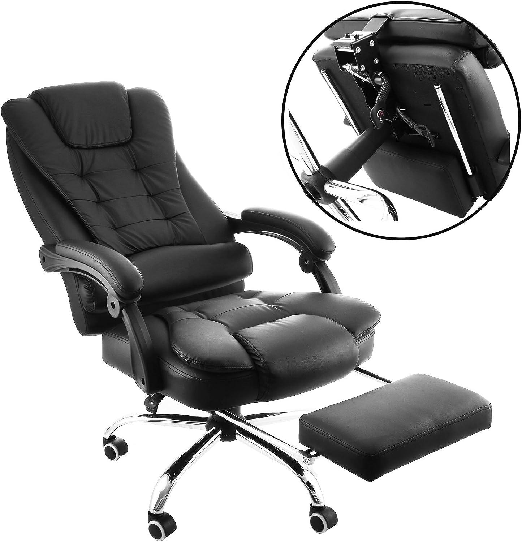 orangea ergonómico silla de oficina respaldo alto piel sintética oficina ejecutiva silla 360Degree giratorio reclinable silla de oficina con reposapiés negro silla de escritorio para ordenador