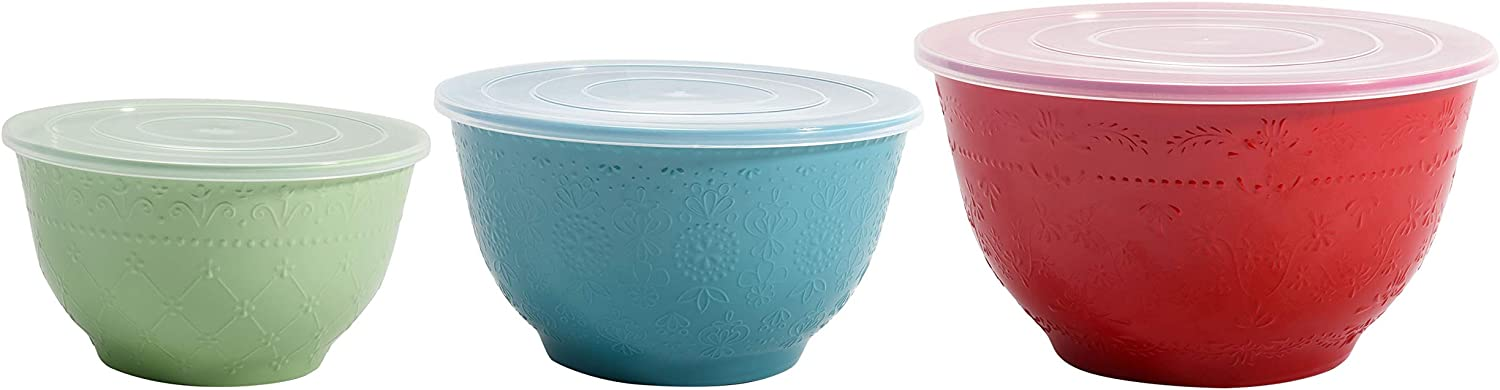 The Pioneer Woman Lily Dot Melamine Mixing Bowl Sets with Lids (Cheerful Medley)