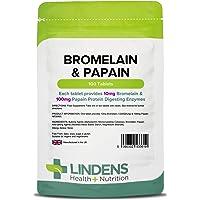 Lindens Compresse di bromelina e papaina 10/100 | 100 Confezione | Contiene 10 mg di bromelina e 100 mg di papaina in pratiche compresse facili da ingerire
