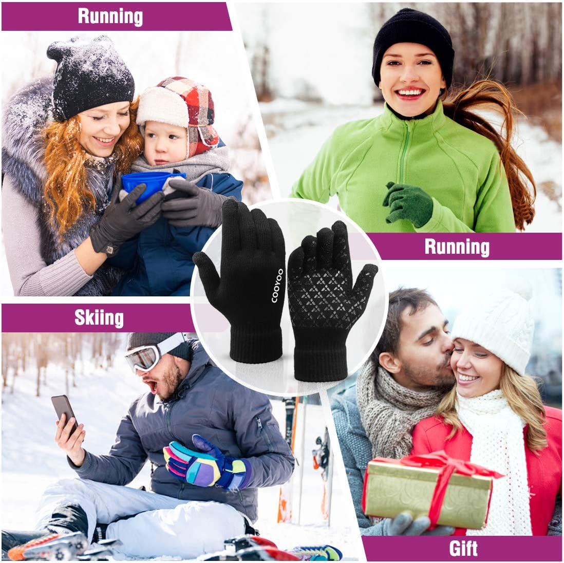COOYOO Winter Gloves for Women and Men,Touchscreen Gloves,Knit Wool,Running Gloves,Anti-Slip Silicone Gel Elastic Cuff Thermal Soft Wool Lining