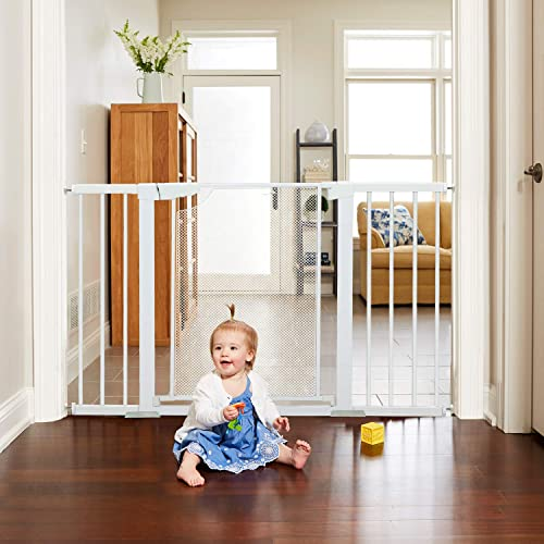 Heele 51.5 Inches Baby Gate Extra Wide Metal Mesh Screen Auto Close for Stairs Doorway Hallway Kitchen,Easy Walk Thru Swing Door Dog Gate,Indoor Safety Gate for Kids or Pets,Pressure Hardware Mount