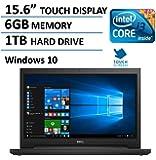 "2016 Dell 15.6"" HD LED TOUCHSCREEN Laptop, Intel Core i3-5015U 2.1 GHz, 6GB RAM, 1TB HDD, HDMI, Webcam, WIFI, Windows 10, Black"