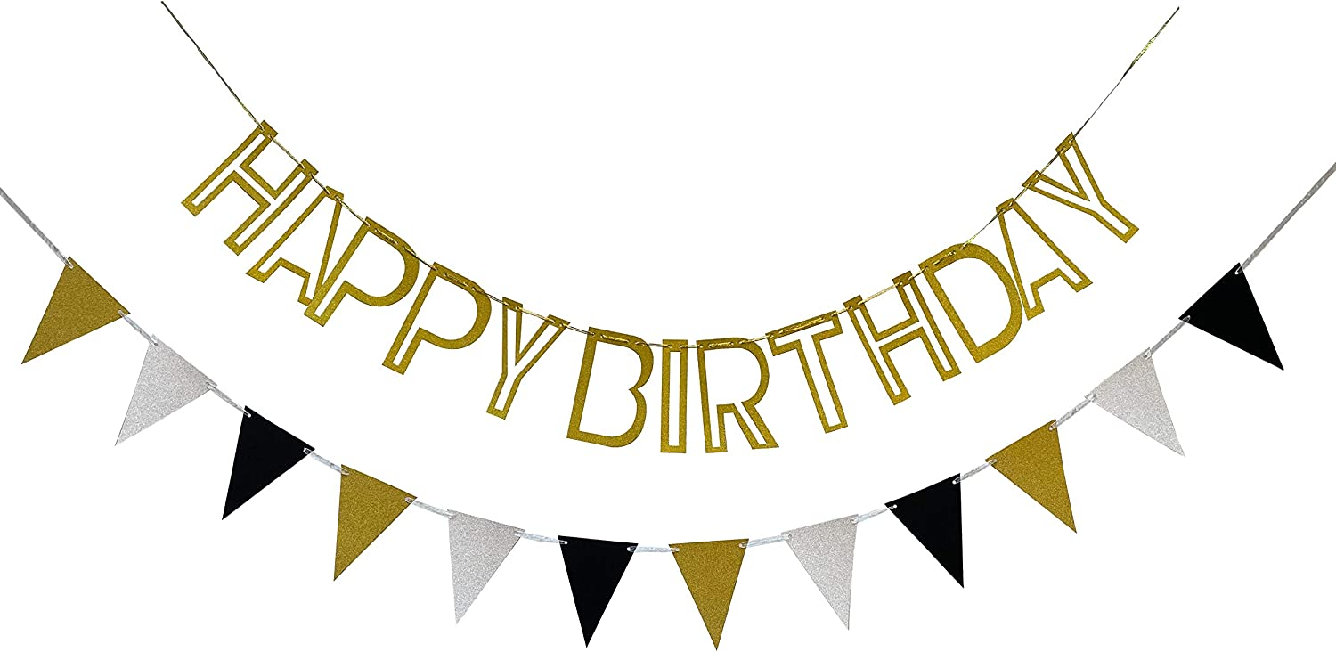 Zotemo Happy Birthday Banner and Triangle Flag Pernant, Gold, Silver and Black Glitter Hollowed-Out Hanging Garland for Adults and Kids Birthday Party Decorations
