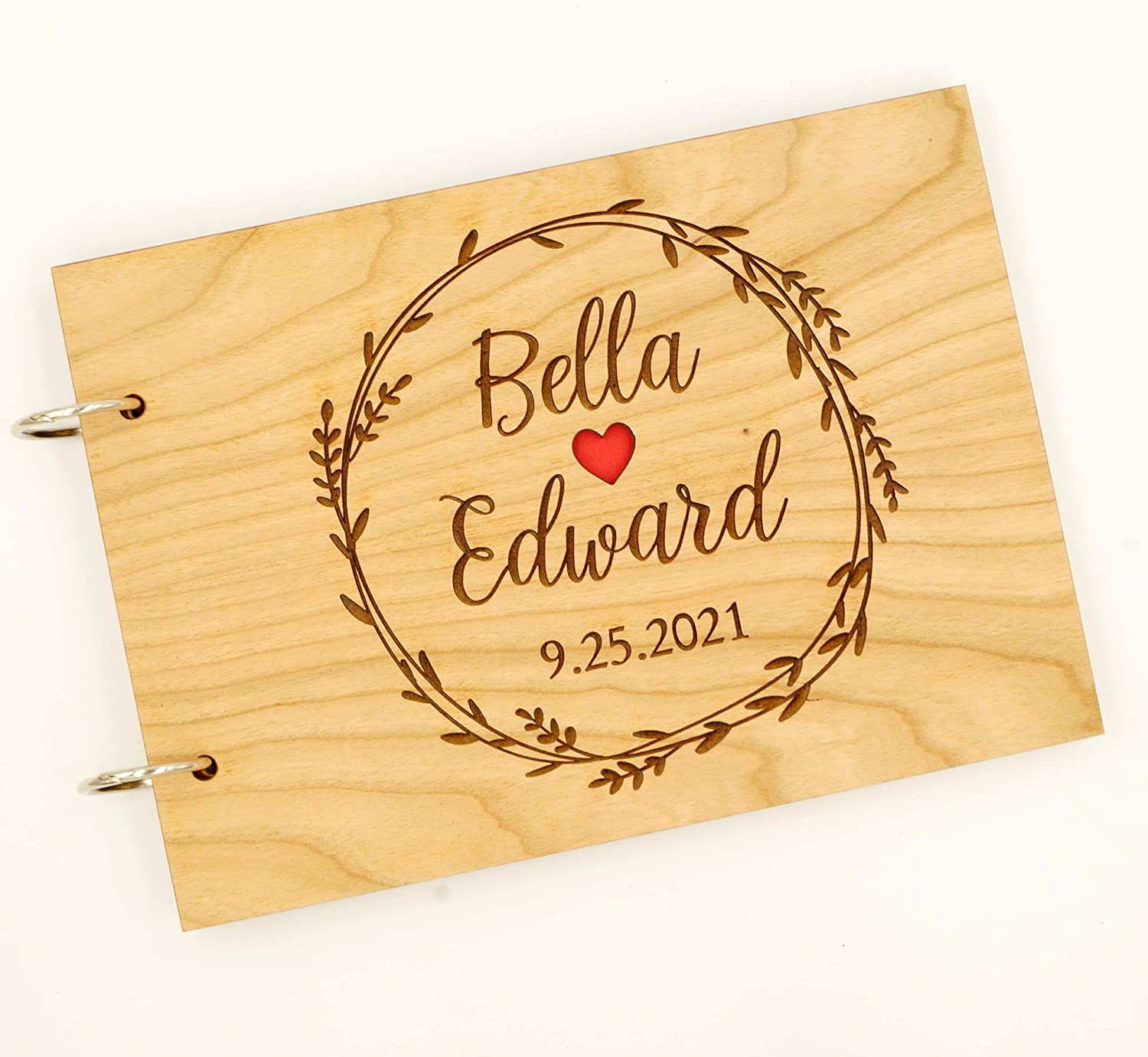 Wood Rustic Wedding Guest Book Laser Engraved Names Bride and Groom GB16 Custom Wedding Guest Book Personalized Wedding Guestbook Album