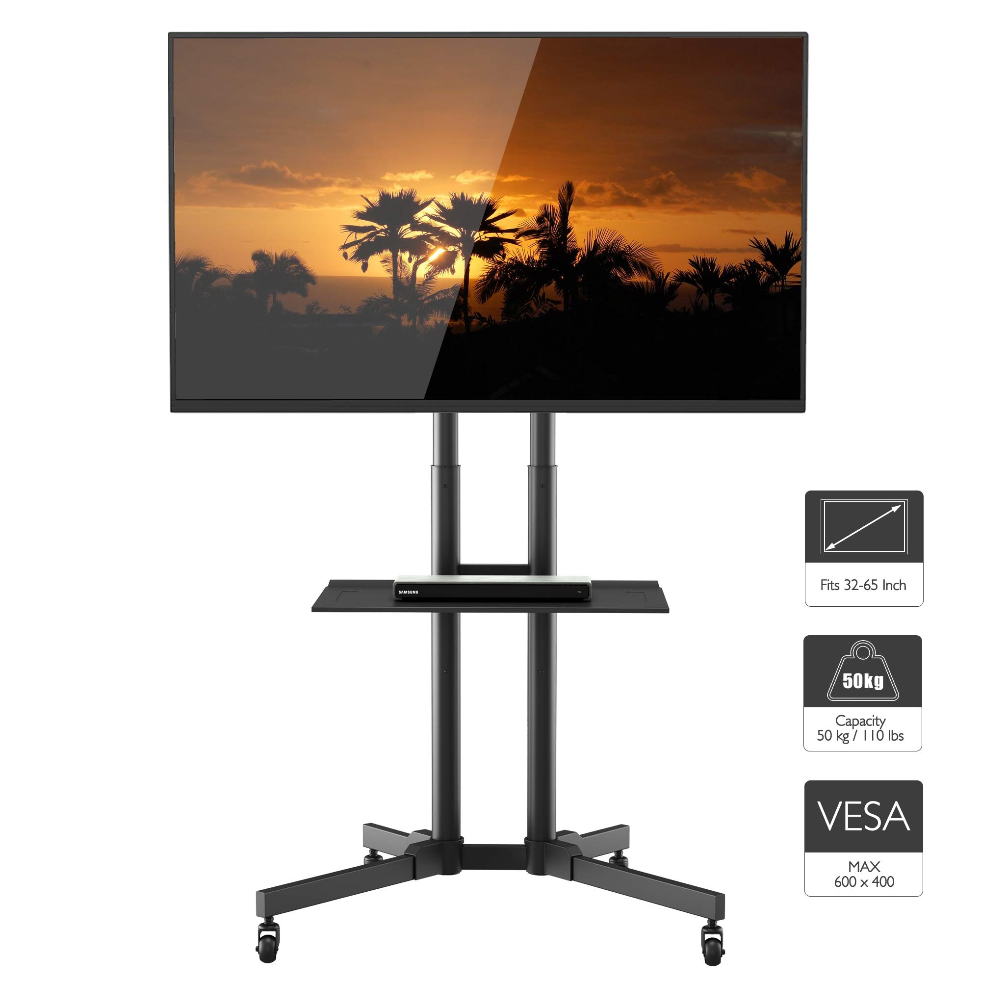 1home Rolling TV Cart Mobile TV Stand with Wheels for 32 to 65 inch LCD LED Plasma Flat Panel Screen Height Adjustable, Black by 1home