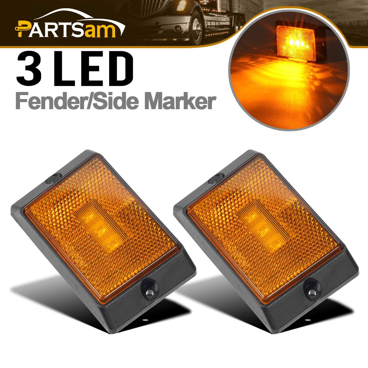 Partsam 2 Pcs Amber Yellow Front Side Marker/Clearance Light with Reflex Lens with Black Surface Mount Base, 2-4/5' Rectangle LED Truck Trailer Light Towing Accessories 2-4/5 Rectangle LED Truck Trailer Light Towing Accessories