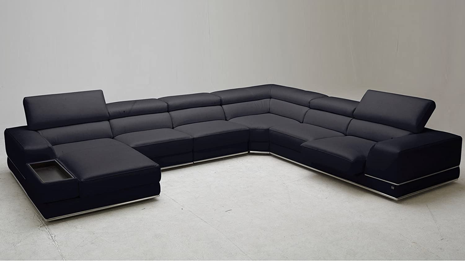 Amazon.com: Zuri Furniture Wynn Black Leather Sectional Sofa With  Adjustable Headrests   Left Chaise: Kitchen U0026 Dining