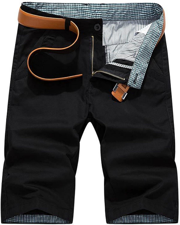 Letuwj Men`s Front plat Stretch Shorts Without Belt
