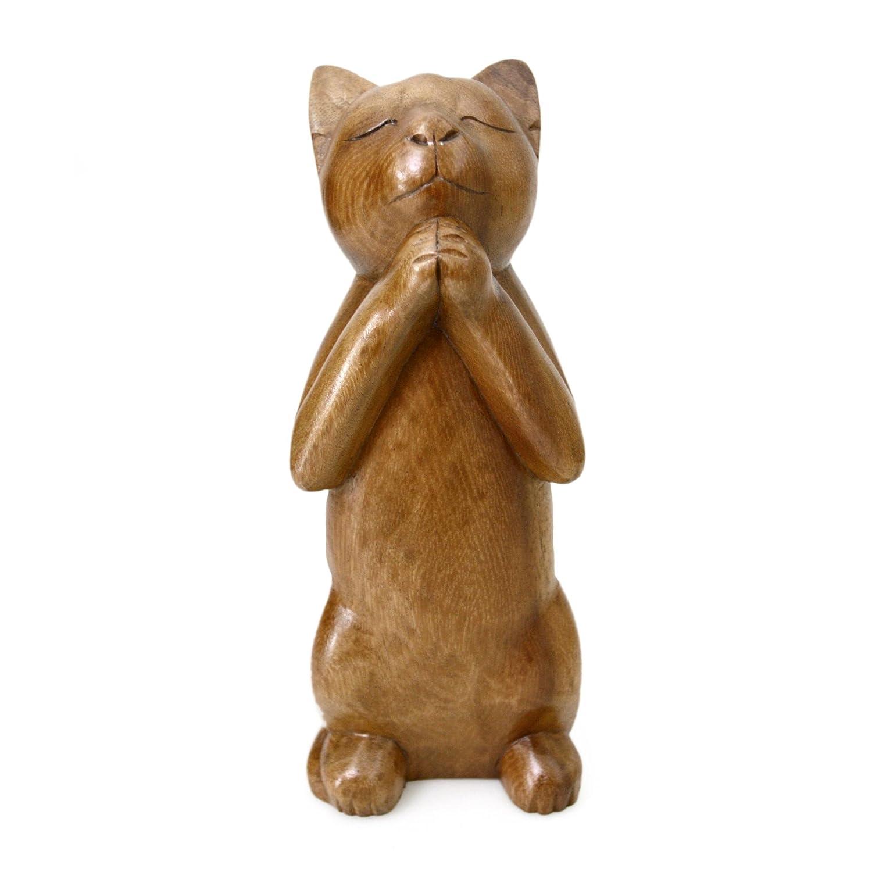 NOVICA 182533 Wishing Cat Wood Sculpture
