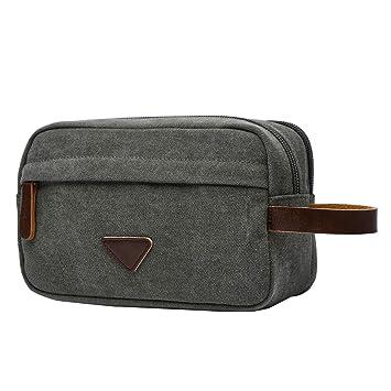e8a5693a92 Amazon.com   Faleto Mens Canvas Toiletry Bag Travel Bathroom Casual  Portable Storage Bag Shaving Dopp Kit Cosmetic Bag