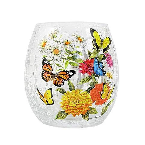 Stony Creek 3 Tall Lighted Oval Glass Vase Folk Art Summer Blooms