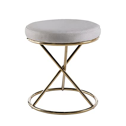 Marvelous Furniture Hotspot Vanity Ottoman Gold Metal Stool Upholstered Ivory Cushion Tapered Legs Andrewgaddart Wooden Chair Designs For Living Room Andrewgaddartcom