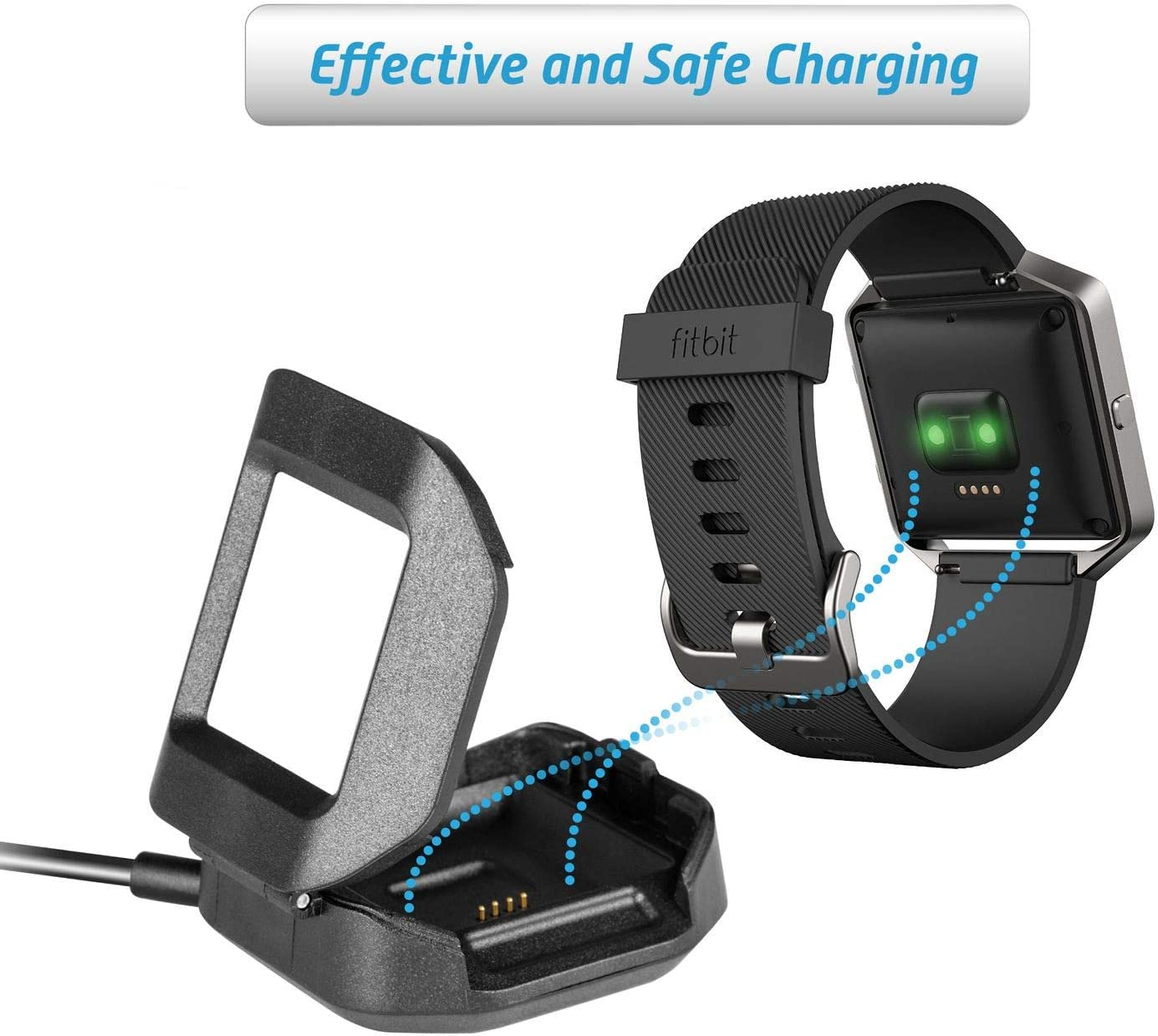 Replacement 3 Feet Charging Cable Cradle Compatible with Fitbit Blaze Smartwatch Wireless Fitness Tracker Activity Wristband Insten USB Charger for Fitbit Blaze Black