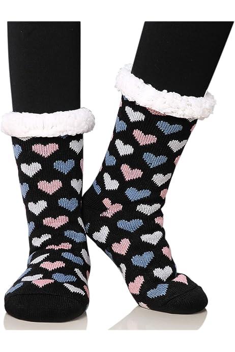Women's Fleece Lining Fuzzy Soft Warm Winter Christmas Slipper Socks