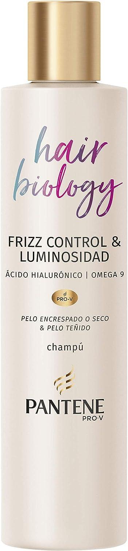 Pantene Pro-V Hair Biology Frizz Control & Luminosidad Champú 250 ml, Para Pelo Encrespado O Seco Y Pelo Teñido