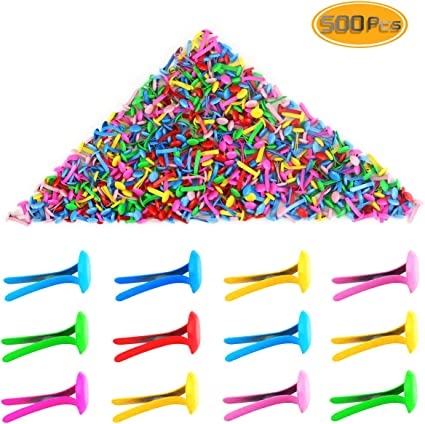 Yexpress 500 Pieces 6 x 13mm Assorted Bright Color Mini Brads Round Paper Fasteners Brass Pastel Metal Brads for Scrapbooking Crafts DIY Paper