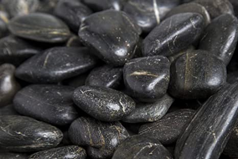 Ordinaire Decorative Pebbles River Rocks Colored Stones Medium Black Grade B Pebbles  1 In