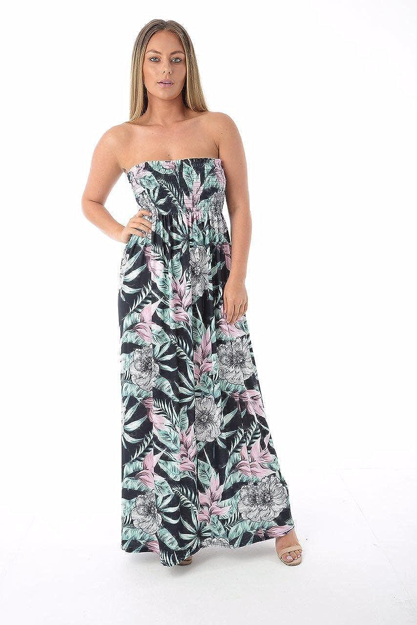 Womens Ladies Summer Sheering Strapless Bandeau Boob Tube Printed Maxi Dress