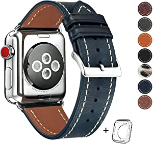 HUAFIY Compatible for Apple Watch Band 42mm 44mm Mens,Top Grain Leather Band Replacement Strap iWatch Series 5/4,3, 2, 1,Sport Edition, New Retro Leather(Retro Jewelry Blue Band+Silver Buckle)
