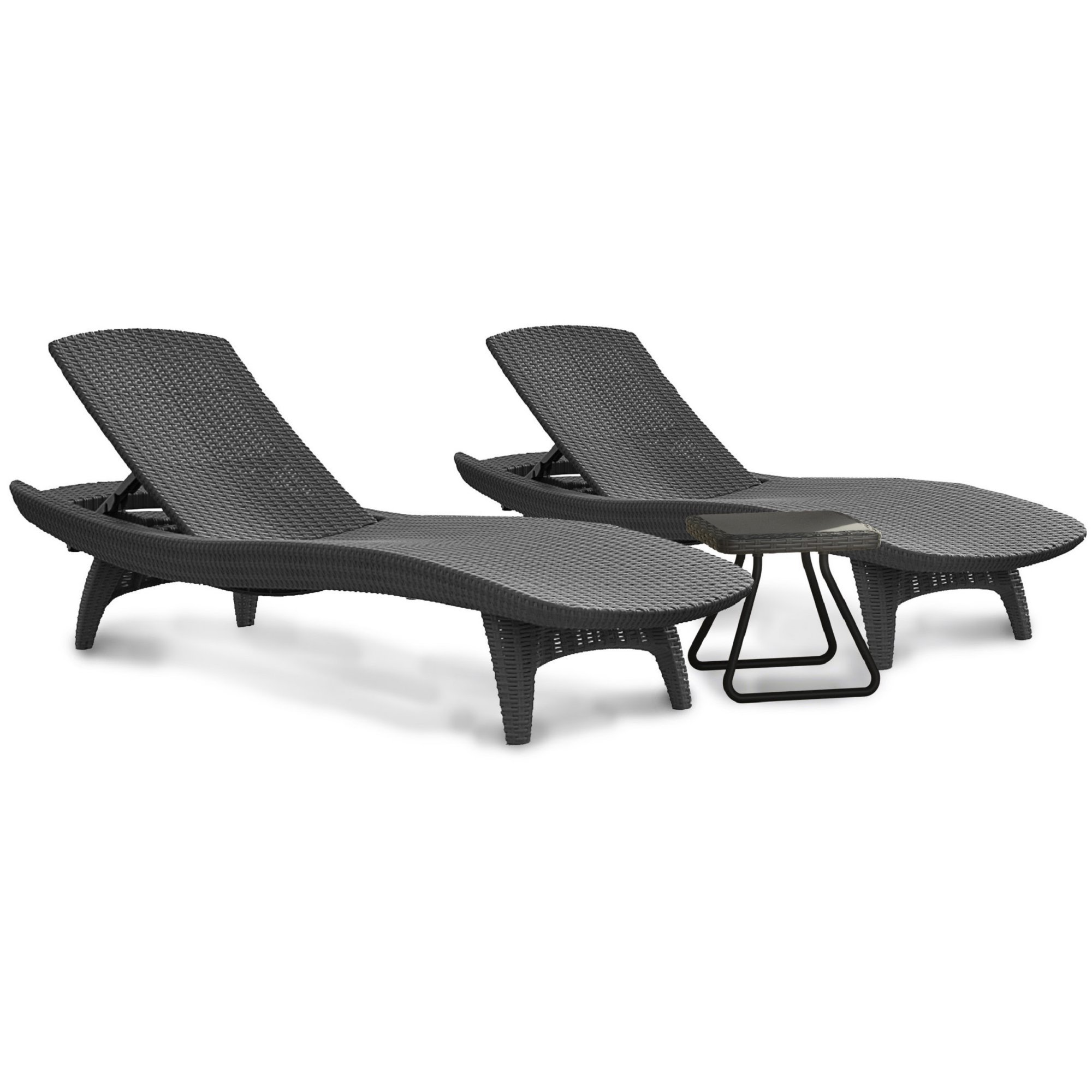 Set of 2 Loungers and Side Table Textured Rattan Design Rust Proof All Weather Polypropylene Resin Furniture and Décor Home Living Room Interior Style Design Gray Charcoal