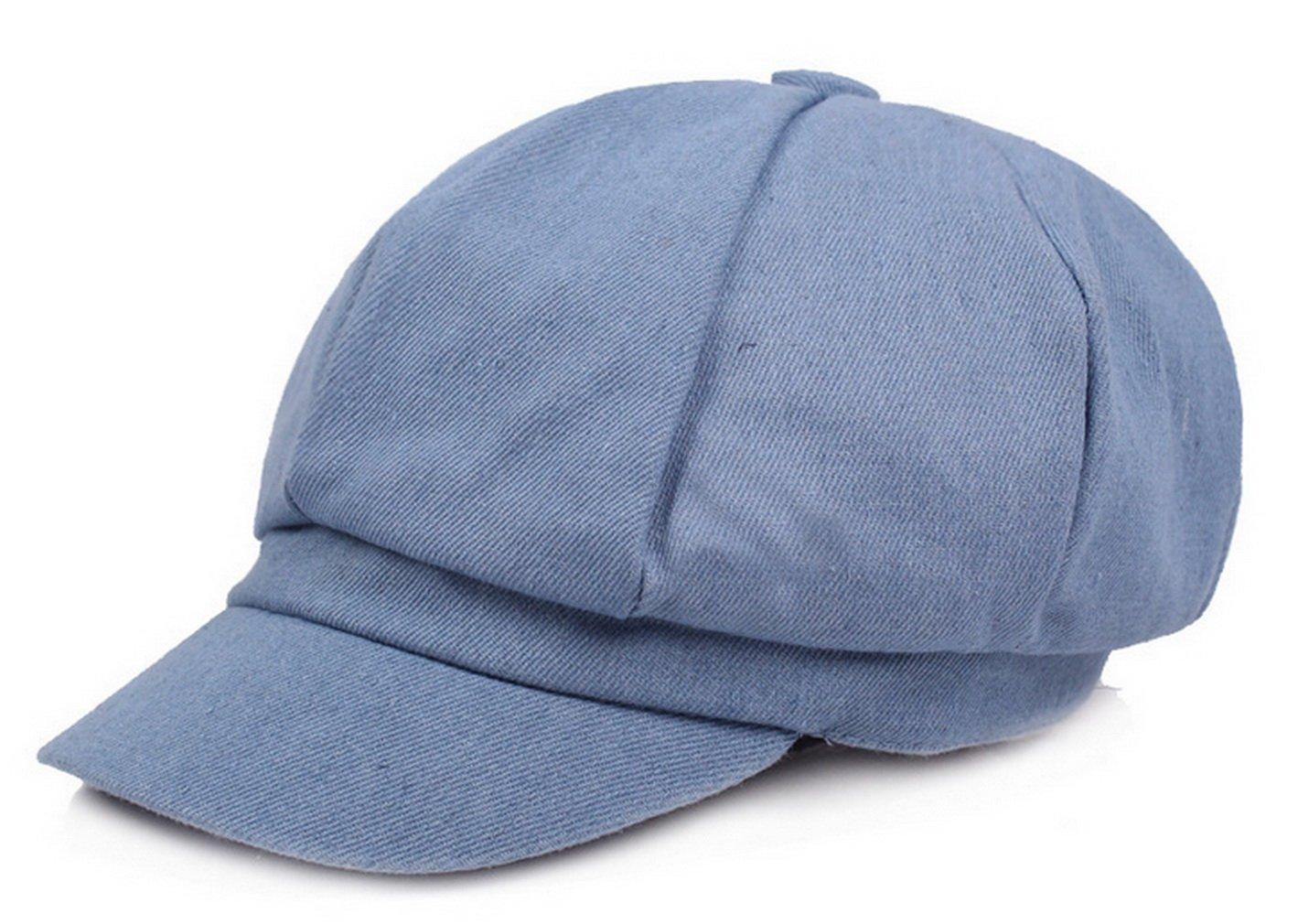 Women Denim Newsboy Cabbie Peaked Beret Cap Vintage Baker Boy Visor Artist Hat