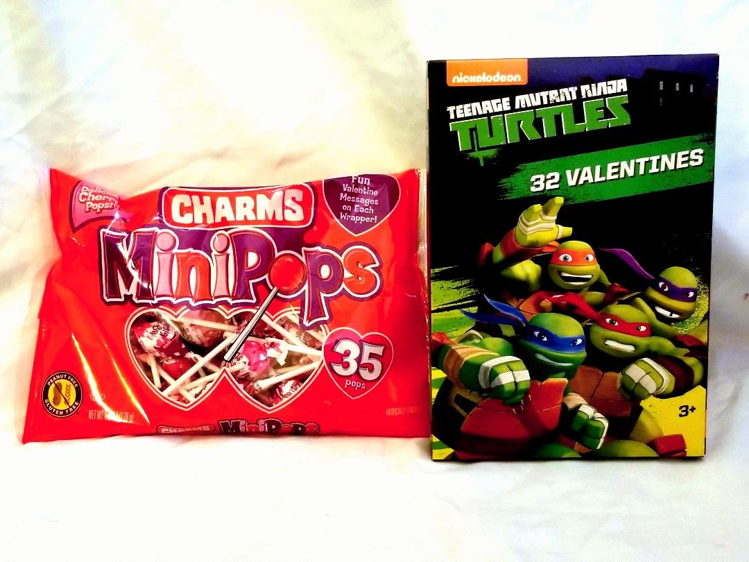 Valentine's Day Licensed Ninja Turtle Themed Card Box (32ct) with Lollipop (35ct) Party Set