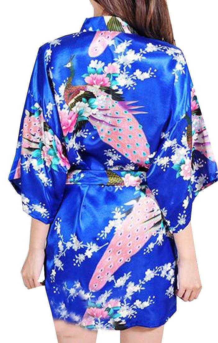 KXP Women s Sexy Peacock Printing Short Sleeve Kimono Silk Robe Sapphire  Blue M at Amazon Women s Clothing store  ecf72bd6f