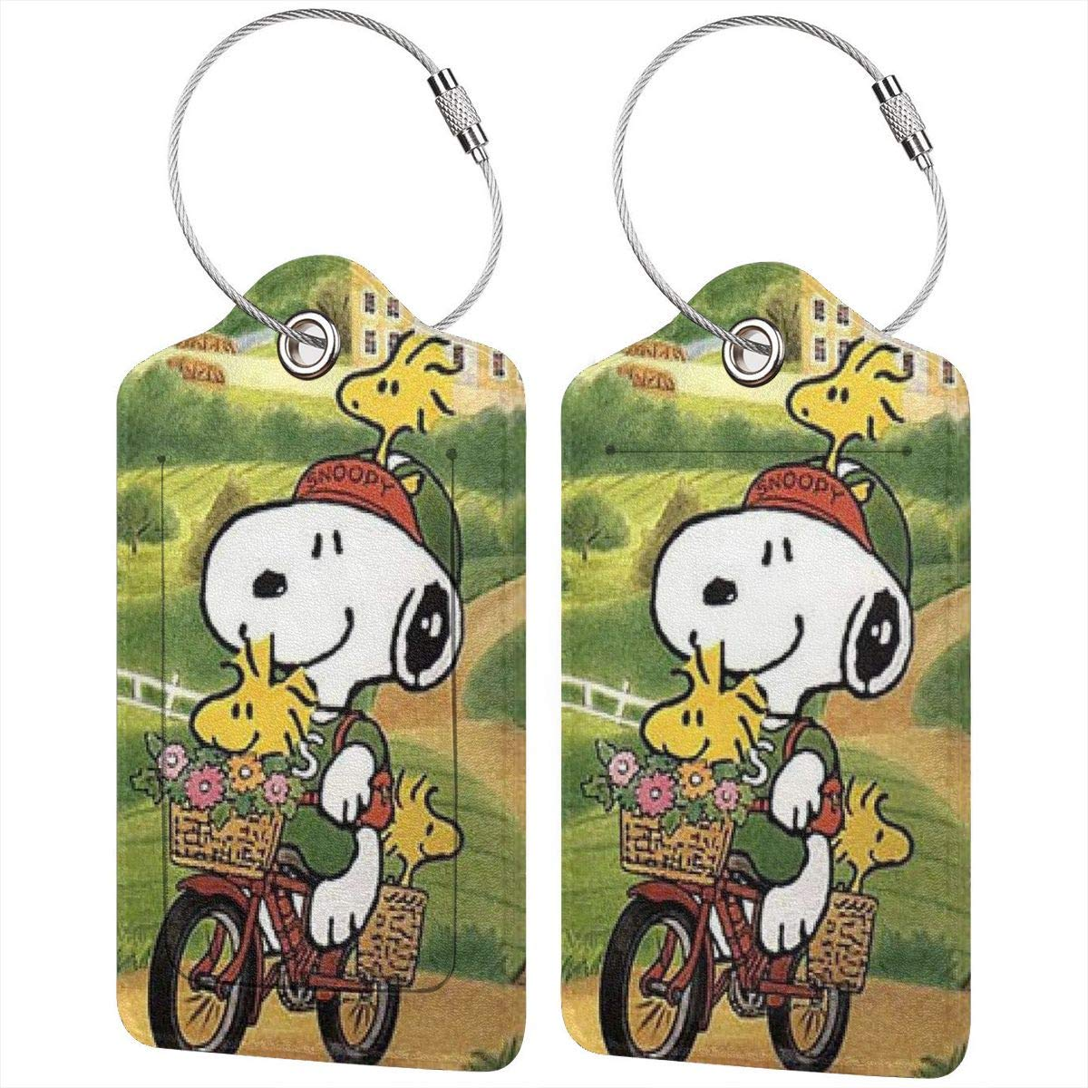 Suit For Travel,Vacation Fashion Snoopy And His Life Soft Leather Luggage Tags With Privacy Cover 1-4 Pcs Choose