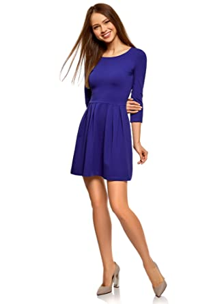 3918ac406587be oodji Ultra Damen Tailliertes Kleid mit Ausgestelltem Rock, Blau, DE 32 /  EU 34