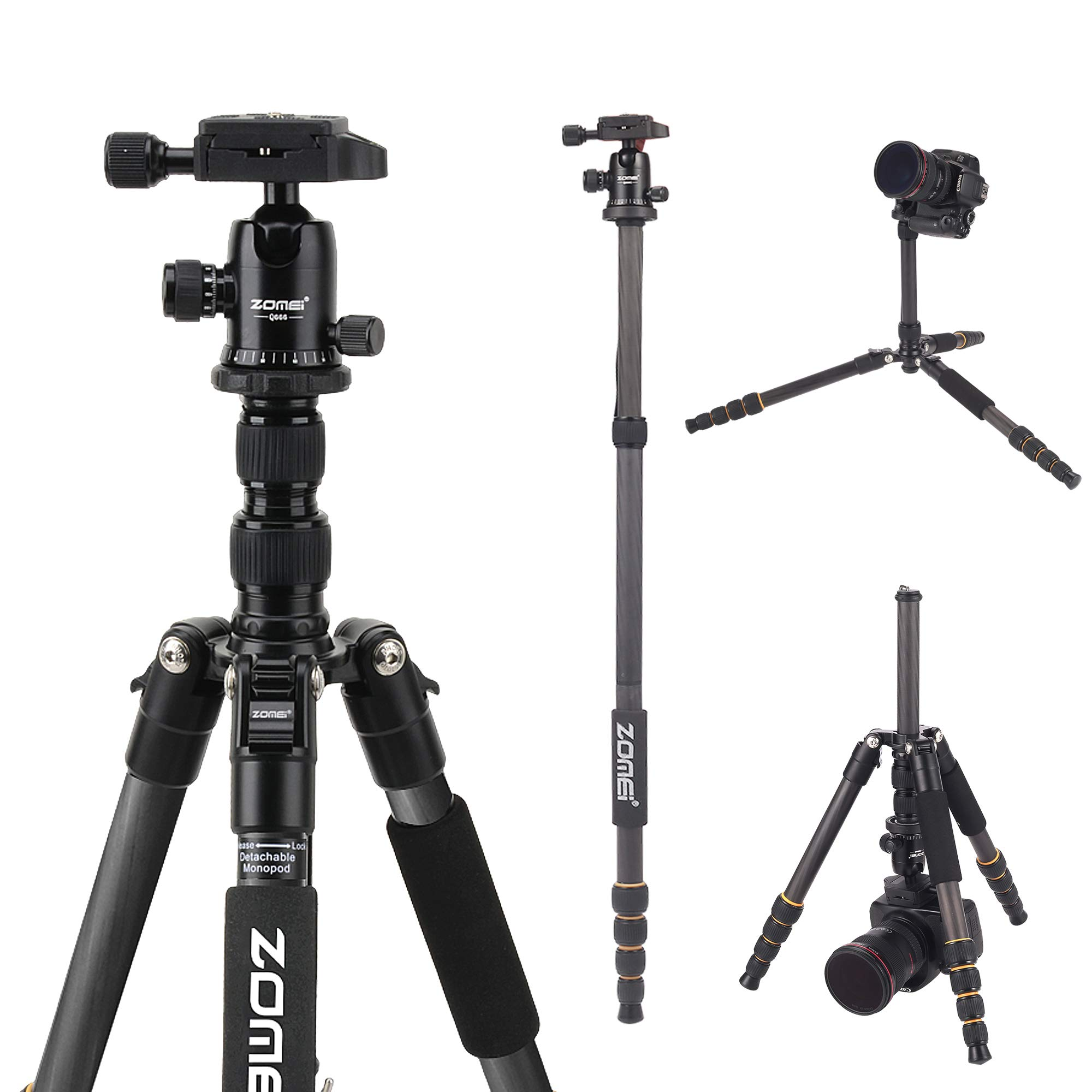 YESSBON ZOMEI Carbon Fiber Q666C Tripod Heavy Duty Lightweight Travel with 360 Degree Ball Head Compact for Canon Sony, Nikon, Samsung, Panasonic, Olympus, Kodak, Fuji, Cameras and DSLR by YESSBON