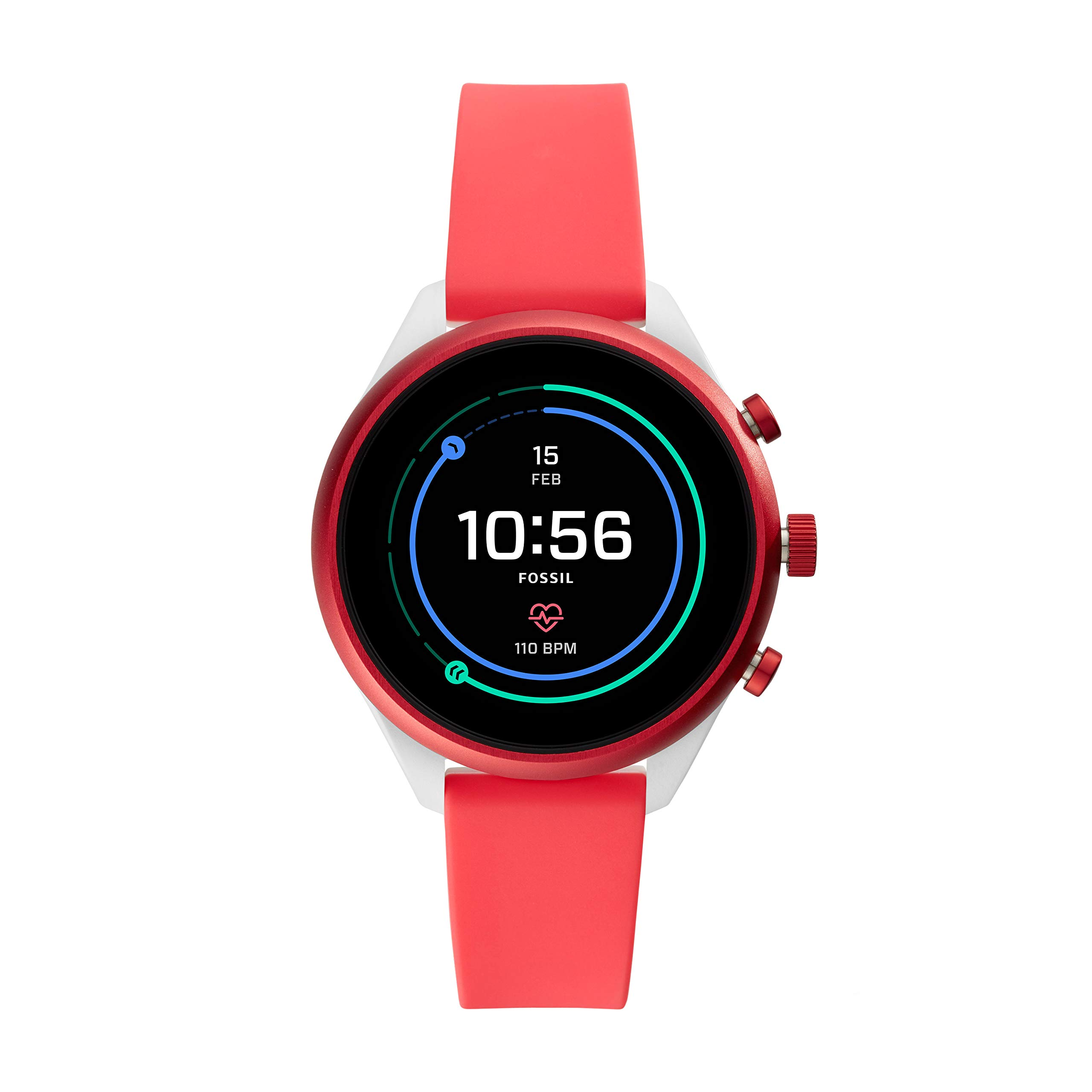 ویکالا · خرید  اصل اورجینال · خرید از آمازون · Fossil Women's Gen 4 Sport Heart Rate Metal and Silicone Touchscreen Smartwatch, Color: Coral Red (FTW6027) wekala · ویکالا