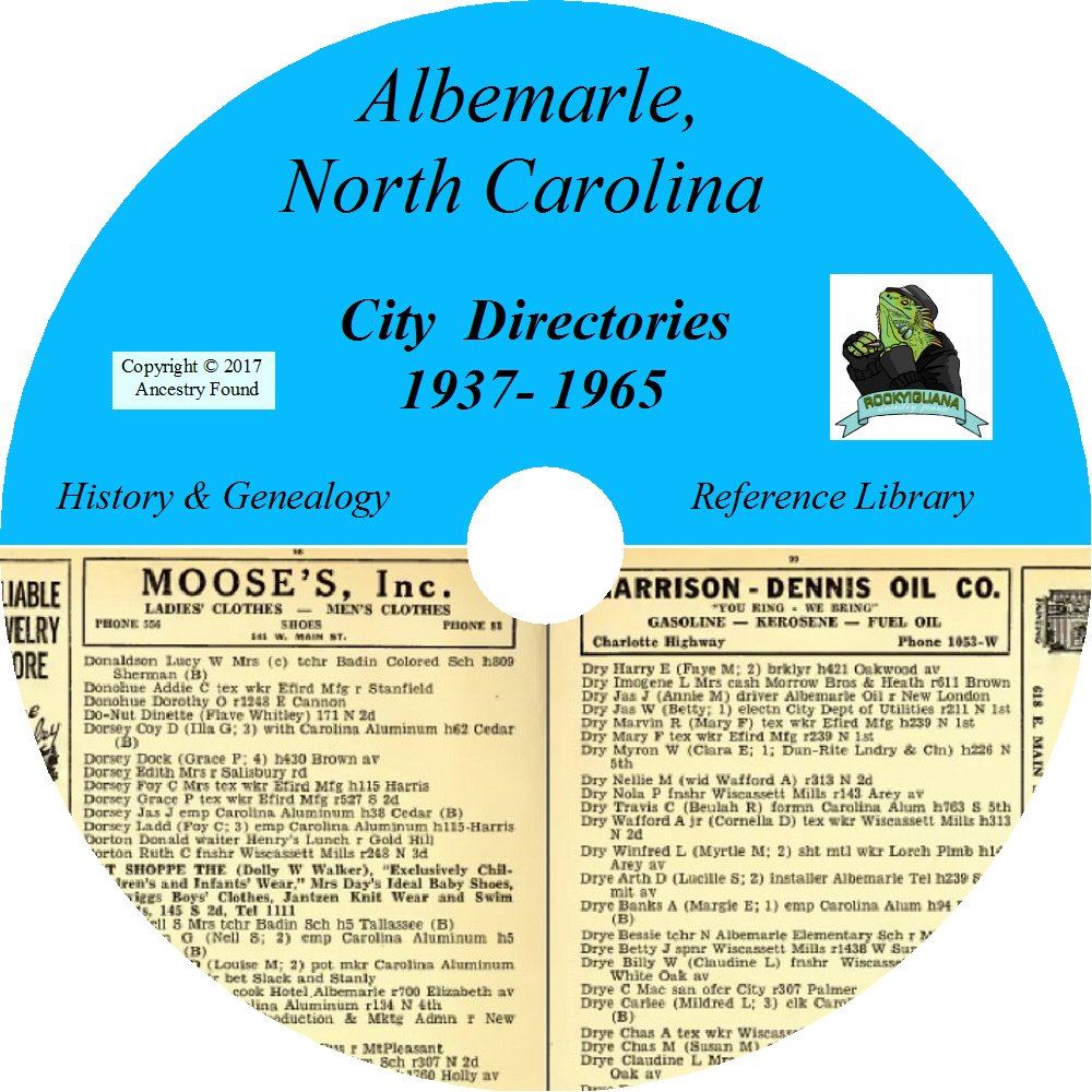 Download ALBEMARLE North Carolina City Directory - History & Genealogy - 14 Directories on DVD ebook