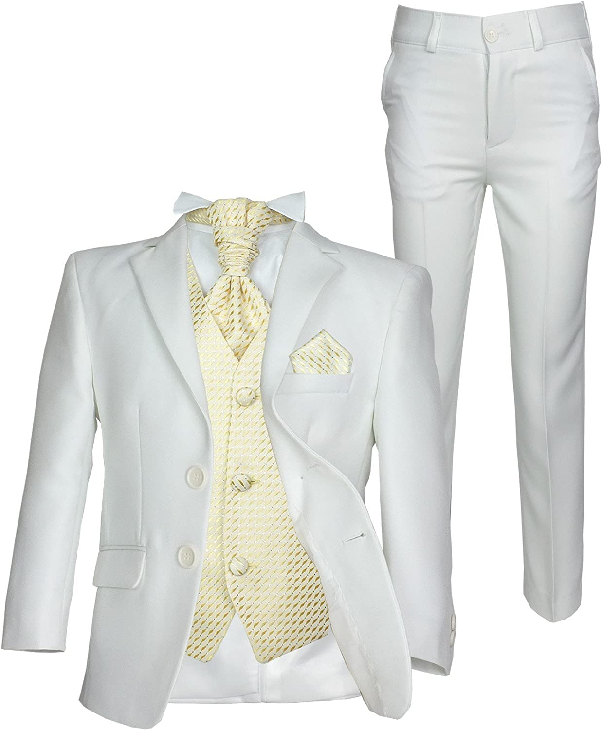 SIRRI Page Boys Formal Ivory Gold Wedding Suit 5PC Boys Cream Suit Age 1 to 15
