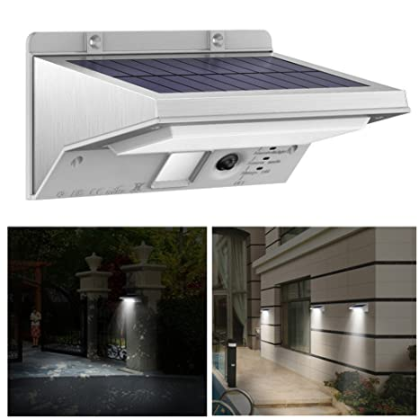 MINDTECH Solar Leuchten apliques Outdoor – Sensor de movimiento acero inoxidable 21 LED de luces 3