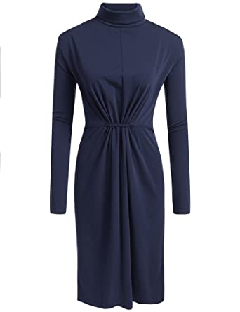 Involand Womens Plus Size High Neck Long Sleeve Ruched Slinky Midi