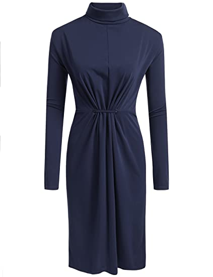 IN\'VOLAND Womens Plus Size High Neck Long Sleeve Ruched Slinky Midi Bodycon  Dress Knee Length