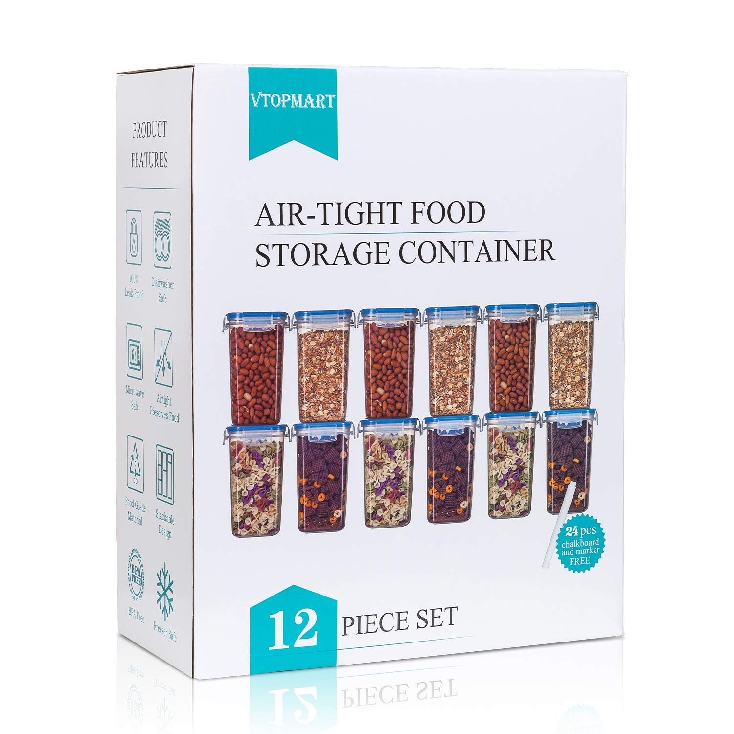 Vtopmart Airtight Food Storage Containers 12 Pieces - Plastic PBA Free Kitchen Pantry Storage Containers for Sugar,Flour and Baking Supplies - Dishwasher Safe - 24 Chalkboard Labels and 1 Marker by Vtopmart (Image #7)