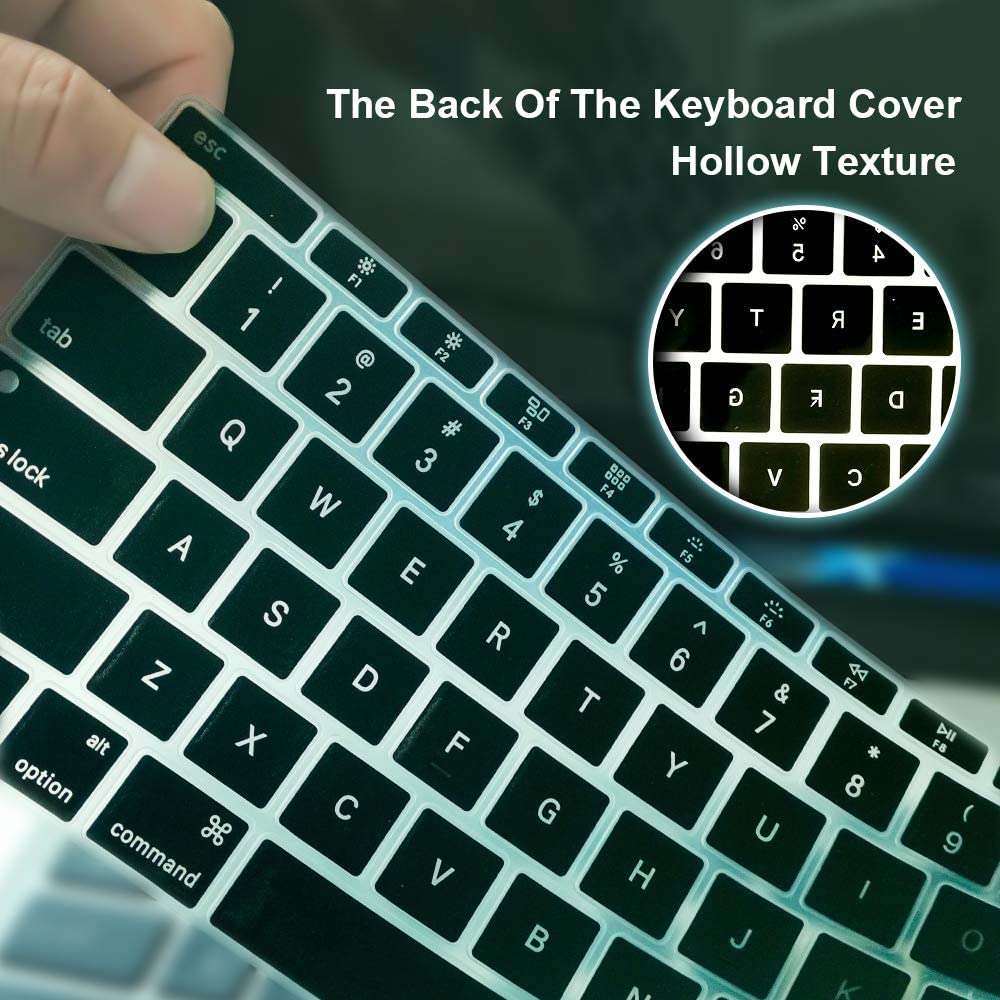 Release 2018 A1932 Lhome Premium Ultra Thin Keyboard Cover,with Hollow Texture Design for The Newest MacBook Air 13.3 with Retina Display /& Touch ID Pack of 2 Clear TPU+Black Silicone