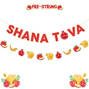 Yaaaaasss! Shana Tova Banner Jewish New Year Greetings Garland Yom Teruah Decorations Shofar Honey Apple Pomegranate Cutouts Rosh Hashanah Decor