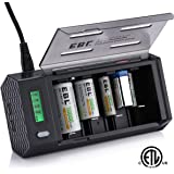 EBL Smart LCD Battery Charger (3rd Gen, ETL Certified) with 2 USB Port & Discharge Function - For C D Size Cell AA AAA 9V Rechargeable Batteries - Battery Not Included