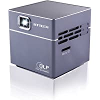RtTech S6 Portable Mini Pico DLP Projector with 30,000 Hour LED Light and 120-inch Display, Wireless, Rechargeable, includes HDMI Cables, Tripod and Charger