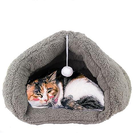 gossipboy triángulo bolsa de Cuddle mascotas cama saco de dormir lavable cómodo casa para burrower gatitos
